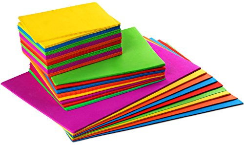 Set of 54 - Foam Craft Sheets, Kids Arts and Crafts Foam Paper, Rainbow Colors, 3 Sizes (Rainbow Foam)