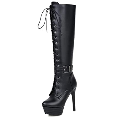 3569edee4ec Smilice Women Fashion   Sexy High Heel Platform Lace Up Knee High Boots  with Zipper (