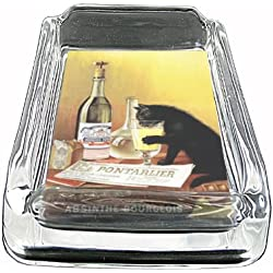 Glass Square Ashtray Absinthe Bourgeois Black Cat Whiskey D-062