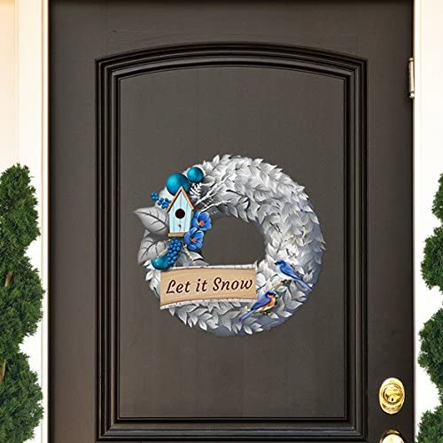 Personalized Christmas or Hannukah Blue /& White Wreath Decal Peel and Stick Removable Reusable Holiday Decoration