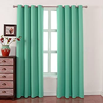Blackout Bedroom Curtains Set 100% Polyester Grommet Top Room Darkening  Panels Thermal Insulating Draperies For