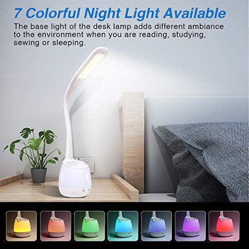 luce di lettura a LED con porta di ricarica USB portapenne,luce notturna colorata Lampada da scrivania a LED per bambini lampade da tavolo per la cura degli occhi