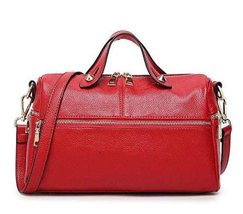 Baguette Handbag Bag - Mn&Sue Baguette Doctor Style Multi Zipper Medium Top Handle Pillow Boston Barrel Satchel Handbag for Lady (Red)