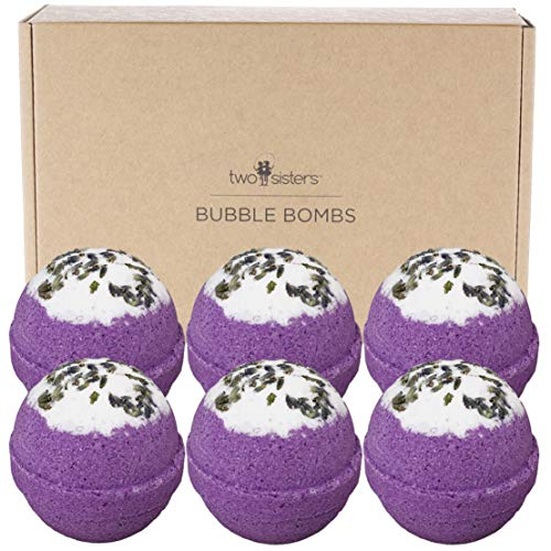 6 Relaxing Lavender BUBBLE Bath Bombs Gift Set. USA Made Large Lush Spa Fizzy Gift Idea for Her, Wife, Girlfriend. Releases Purple Color, Relaxing Scent, and Bubbles in Bath. Dry Skin Moisturizing