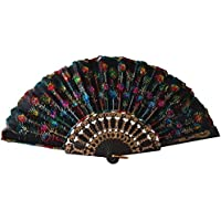 Weixinbuy Chinese Retro Folding Hand Held Fabric Fan Embroidered Peacock Party Decor