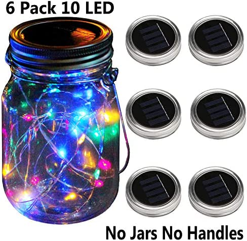 KZOBYD 6 Pack Mason Jar Lid Solar Waterproof Fairy Starry Firefly Lights for Regular Mouth Mason Jar Lantern on Patio Yard Pathway Festivals Home Decor Jars Not Included 6, Colorful