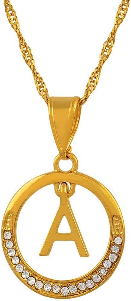 Cartas de A-z Collares Cadena de Colgante Inicial de Color Dorado con Piedra para Mujeres Niñas Letra Inglesa Joyas Alfabeto