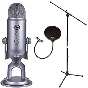blue microphones yeti usb microphone with mic stand and pop filter for broadcasting. Black Bedroom Furniture Sets. Home Design Ideas