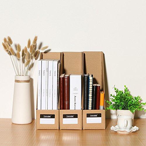 TIANSE File Magazine Holder, Desk Storage Organizer for Office Home, Kraft Paper(Pack of 3) Photo #5