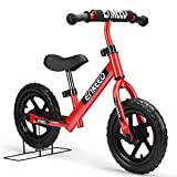 ENKEEO 12 inch Balance Bike No Pedal for 2-6 Year Old Kids, Carbon Steel Frame, Adjustable Handlebar, Swat and Stand, 50kg Capacity, Red