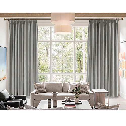 cololeaf Breathable and Airy Natural Linen and Poly Mixed Curtains,Pinch Pleated Drapery Panel with Blackout Lining for Bedroom Club Theater Patio Door,Rock Grey 52W x 96L Inch (1 Panel) ()