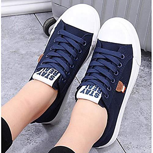 D'été uk6 Talon Femme Bleu Fermé noir eu39 Plat Sur Confort cn39 Blanc Des Bout Chaussures bleu Us8 Ttshoes Toile AI0TTx