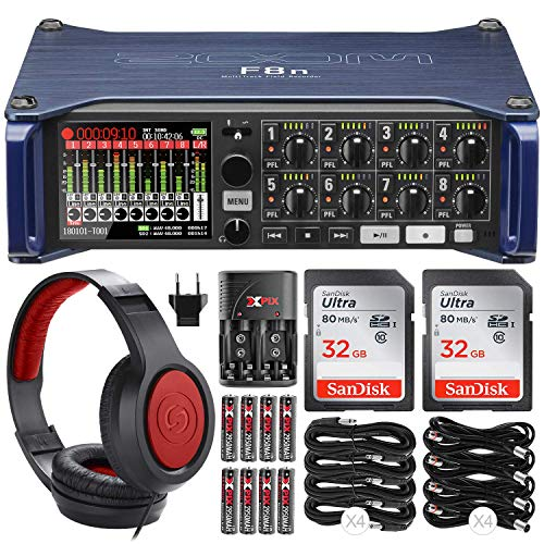 Zoom F8n Multi-Track Field Recorder with 2x 32GB Card, Headphones and Basic Accessory Bundle