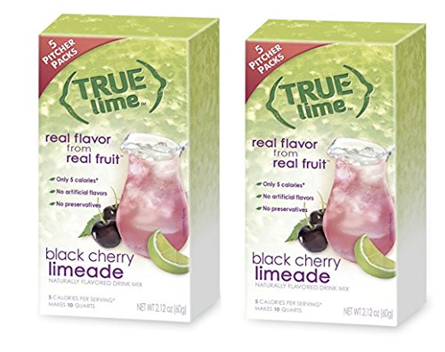 True Lime Black Cherry Limeade Drink Mix 5 Pitcher Packs Makes 10 Quarts (Pack of 2) by True Citrus Co.