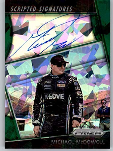 2018 Panini Prizm Scripted Signature Green Michael McDowell AUTO Autograph 5/99 K-LOVE Radio/Leavine Racing/Chevrolet Trading Card