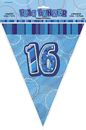 UPC 011179553013, 12ft Foil Glitz Blue 16th Birthday Bunting Flags