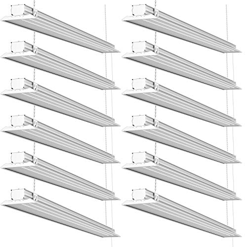 Sunco Lighting 12 Pack LED Flat Shop Light, 4 FT, 40W=230W, 5000K Daylight, 4500 LM, Clear Lens, Linkable, Double Integrated LED, Surface or Suspension Mount, Equipment Included - ETL + Energy Star