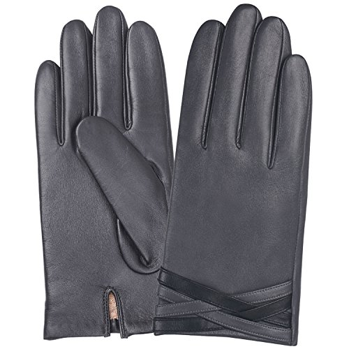 Men's Winter Genuine Leather Gloves-Touchscreen on Five Fingers for Texting Driving Wool+Polyester Lined by GSG