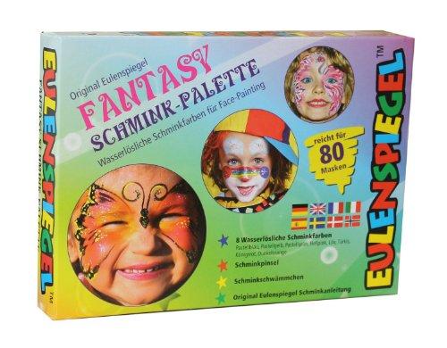 Eulenspiegel 208045 - Schminkset Fantasy, Palette mit 8 Farben, Pinsel, Schwämmchen und Anleitung