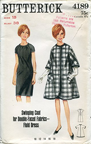 1960s Butterick Pattern 4189 Misses' Dress and Swing Coat, Vintage Check Offers for Size