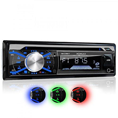 XOMAX XM-CDB617 Autoradio mit CD-Player + Bluetooth Freisprecheinrichtung & Musikwiedergabe + 3 Farben einstellbar (rot, blau, grün) + USB Anschluss (bis 128 GB) & Micro SD Kartenslot (bis 128 GB) für MP3 und WMA + AUX-IN + Single DIN / 1 DIN Standard Einbaugröße + inkl. Fernbedienung, Blende & Einbaurahmen