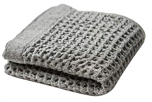Nutrl Home Waffle Weave Hand Towel - Antimicrobial 100% Supima Cotton (Grey, 30 x 20 Inch) Premium Luxury Hand Finger Towels - Perfect for Hotels, Travel, Bathrooms, Spa, and -