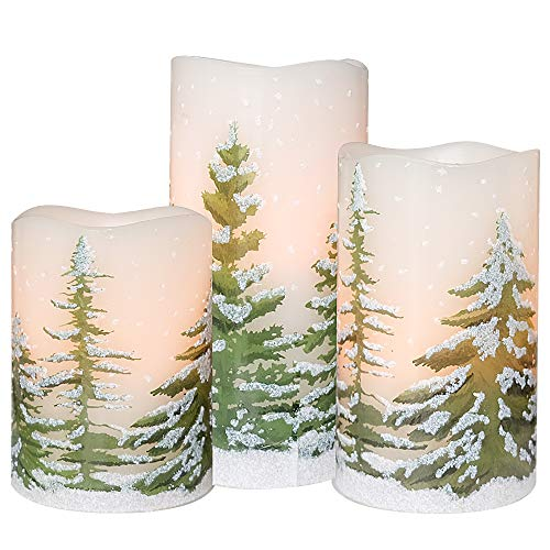 DRomance Flameless Candles Flickering Candles 3 AAA Battery Operated with Timer, Set of 3 Real Wax LED Pillar Candles Warm Light Christmas Tree Decal Candles Home Decoration(D3