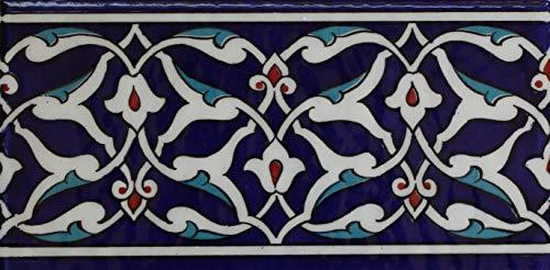 "Altin Cini Turkish Iznik Floral Pattern 4"" x 8"" Ceramic Border Tile (10)"