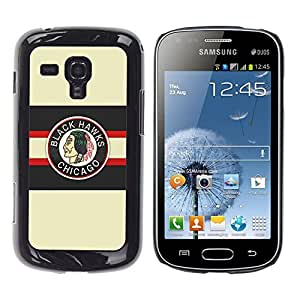 CASER CASES / Samsung Galaxy S Duos S7562 / Chicago Blackhawk Ice Hockey / Delgado Negro Plástico caso cubierta Shell Armor Funda Case Cover