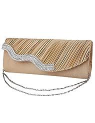 Aivtalk Ladies Luxury Rhinestone Satin Pleated Flap Evening Cocktail Bag Wedding Party Cross Body Handbag Clutch Purse Wallet - Gloden
