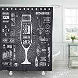 Emvency Waterproof Fabric Shower Curtain Hooks Text Beer Not to and Names Types of Black White Chalk Graphic on Board for Bar Pub Restaurant Extra Long 72'X78' Bathroom Odorless Eco Friendly