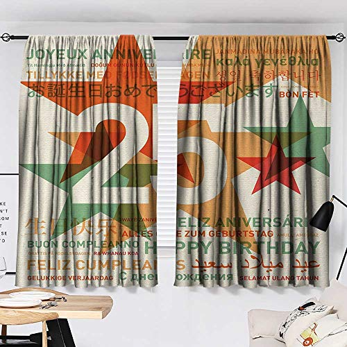 25th Birthday Room/Bedroom Vintage Colored Stars and Greetings in Different Languages Retro Art Print pop Darkening Curtains Multicolor W55 x L39 by Jinguizi (Image #1)