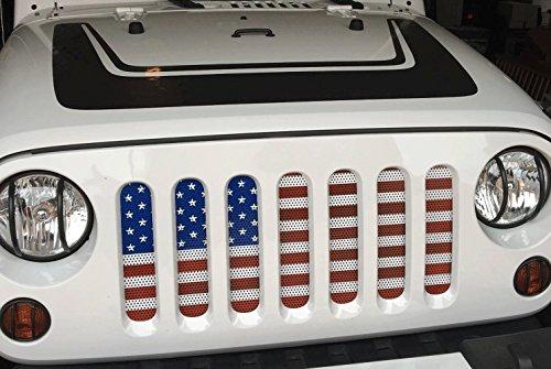 Bolaxin Steel Front Grille Mesh Insert for Jeep Wrangler JK 2007-2016 (American Flag Insert)