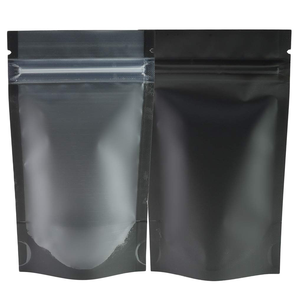 """QQ Studio Pack of 100 Translucent Front Matte Black Poly Plastic Ziplock Bags (3.3oz (5"""" x 7""""), Stand-Up Pouch)"""