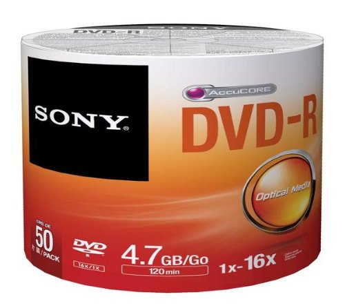 Sony DVD Recordable Media - DVD-R - 16x - 4.70 GB - 50 Pack Spindle - Bulk by Sony
