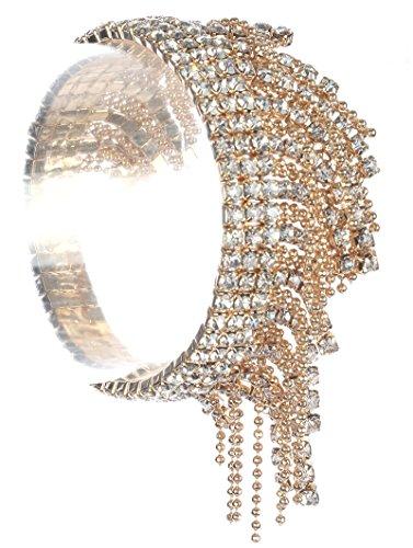 Parisian Chic Bracelet Fringed Ball Chain Rhinestone Stretch Layered Metal Setting Diameter Drop Gold