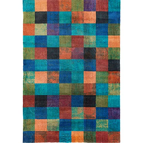 Decomall Edin Modern Contemporary Mosaic Geometric Striped Abstract Area Rug for Living Room Bedroom, 5x7 ft, Multi