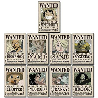 One Piece Straw Hat Crew Wanted Poster Sticker: Toys & Games