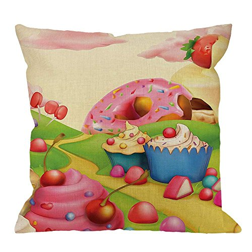Case,Cartoon Stacks of Cakes and Donuts on a Green Hill Cotton Linen Cushion Cover Square Stanrd Home Decorative for Men/Women/Kids 18x18 inch Pink Green ()