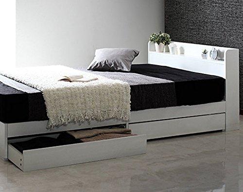 [セミダブル] ホワイト 収納ベッド 【フレームのみ マットレス無し】 棚2口コンセント付き B07568YWY7