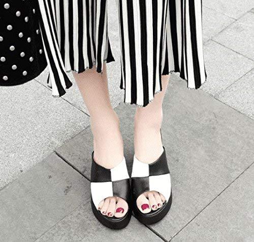 super popular f0573 fffb8 Femme 5 35 Noir uk coloré Talon 3 Taille Tongs Noir Dété Eu 5 Similicuir  ...
