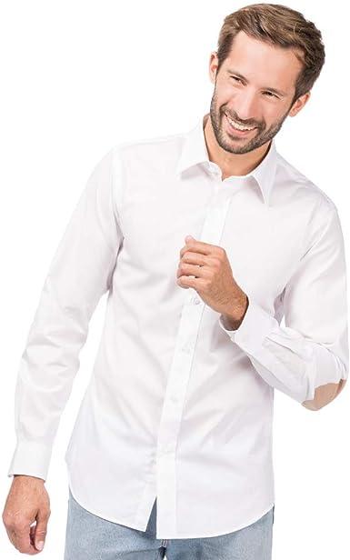 ALLBOW Weißes Slim Fit Herren Hemd Ellenbogen Patches, Langarm, 100% Baumwolle