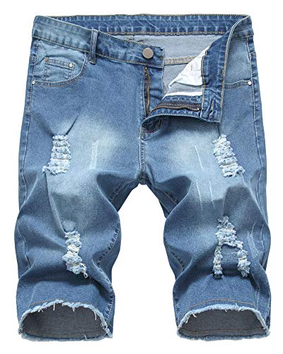 LATUD Men's Casual Ripped Denim Shorts Jeans Distressed Stretchy Jeans Shorts Pants, 1203-Blue, US 40 /Tag - Short Pants Casual Mens