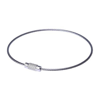TOOGOO(R)10pzs Acero Inoxidable 20cm Alambre Llavero Cable Anillo de llave