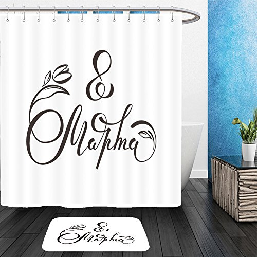 Vanfan Bathroom 2Suits 1 Shower Curtains & 1 Floor Mats march handwritten lettering typography international women s day greetings text black and white 577986940 From Bath room