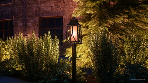 Luxury Asian Outdoor Post Light, Large Size: 21''H x 8.5''W, with Craftsman Style Elements, Airy and Simplistic Design, Beautiful Royal Bronze Finish and Light Amber Glass, UQL1083 by Urban Ambiance by Urban Ambiance (Image #1)