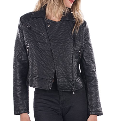 es Faux Leather Classic Motorcycle Jacket, Womens PU Riding Biker Jacket with Zipper Front Closure, & 3 Pockets, Basic Stylish Casual Outerwear Moto Coat for Girls, Black, Black,Small (Ladies Leather Zipper Jacket)