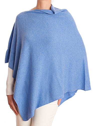 DALLE PIANE CASHMERE - Poncho Cashmere Blend - Made in Italy, Color: Light Blue, One - Wrap Sweater Cashmere