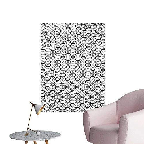 Anzhutwelve Geometric Wall Paper Modern Geometrical Hexagonal Image Stripes and Leaves Like Details PrintCharcoal Grey White W32 xL36 Wall Poster