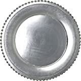 Elegant Weaving Silver Pressed Beaded Rim Design Round Charger Plates Dinnerware Holiday Decor Accent Plates Silver Pressed Finish 13 inch (24)